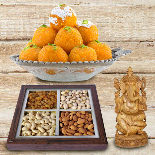 Lovely Sandalwood Ganesha and 250 gms. each of Dry Fruits and Haldiram's Ladoo