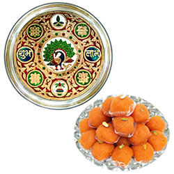 Delicious Haldiram Laddoo along with Designer Meenakari  Subh Labh Stainless Steel Thali
