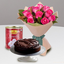Fragrant 12 Red Roses and Haldiram Rasgulla with 1 Kg Eggless Cake