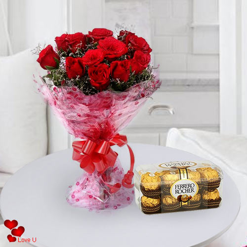 Ferrero Rocher N Red Roses Bouquet for Chocolate Day