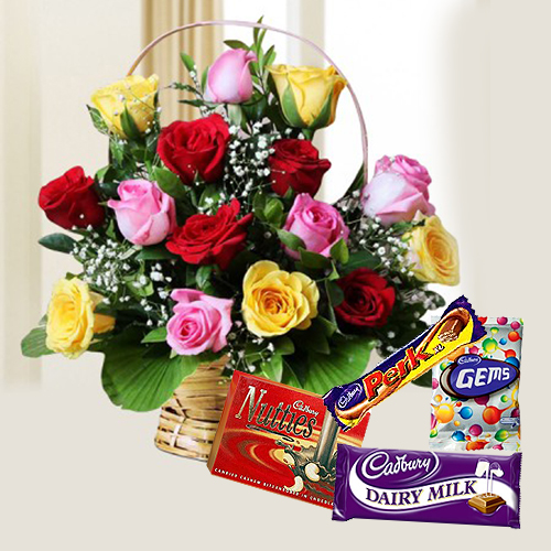 Graceful Mixed Roses with Assorted Cadbury Chocolates