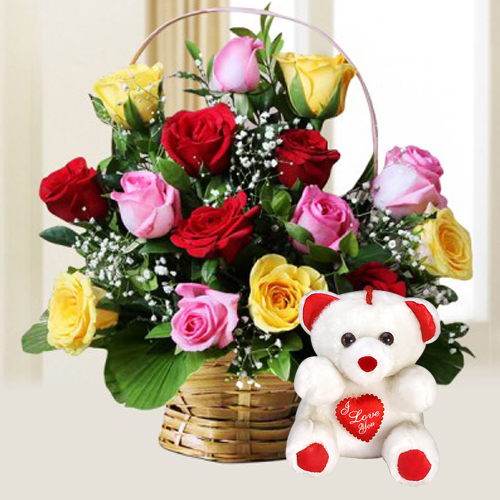 Gift Mixed Roses and Teddy Online