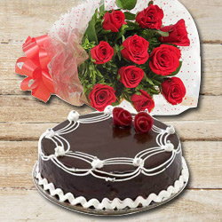 Exotic 10 Red Roses with 1/2 Kg Chocolate Cake
