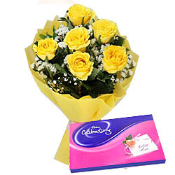 Deliver Online Combo of Yellow Roses Bouquet N Celebration Chocolate