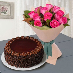 Enticing 12 Red Roses with 1/2 Kg Chocolate Cake