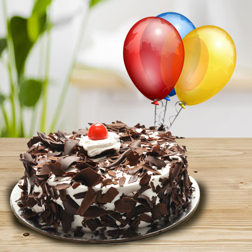 Send Online Black Forest Cake n Balloons