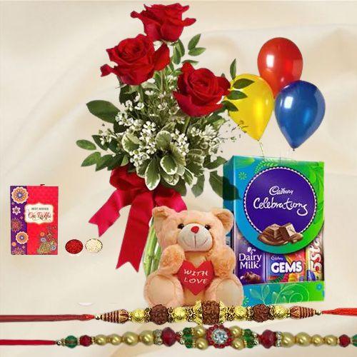 Pure Appreciation Combo Gift Set with Free 2 Rakhis and Roli Tilak Chawal
