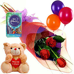 Deliver Online Bouquet of Red Roses with Balloons, Teddy N Cadbury Mini Pack