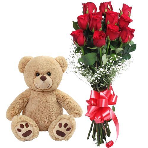 Deliver Red Roses Bunch N Teddy Online