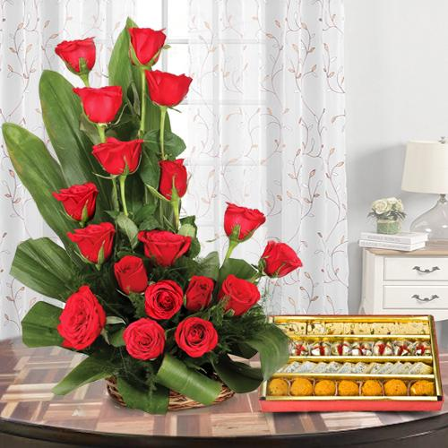 Order Red Roses Bouquet and Assorted Sweets Online