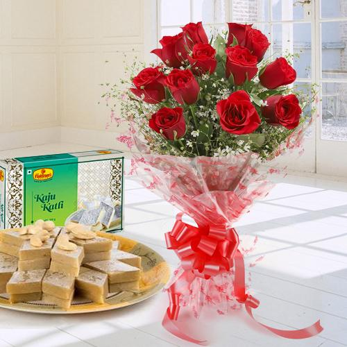 Order Online Red Roses Bouquet with Kaju Katli
