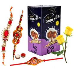 Cadbury�s Chocolate Shots with 3 Rakhi with Two Red Rose