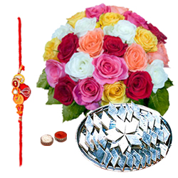 Exciting Kaju Katli and 24 Mixed Roses Bouquet