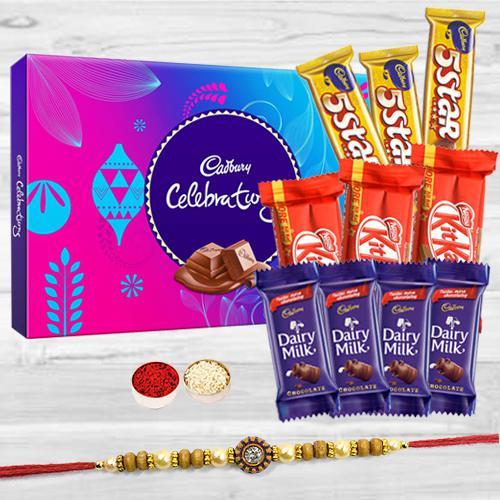 Cadbury Celebration Pack with 1 Rakhi, Assorted Chocolates (4pcs Cadbury Dairy Milk (13gm), 3 pcs Nestle KitKat, 3pcs Cadbury Five Star) and a Free Rakhi Card