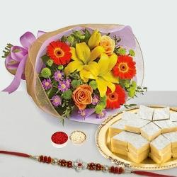 Kaju Katli and Seasonal Flowers Bouquet with Free Rakhi