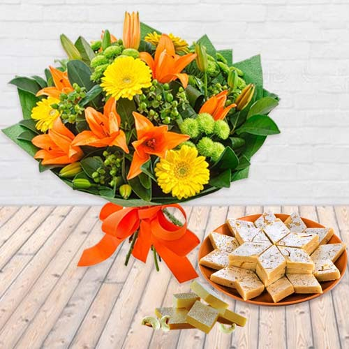 Gift of Seasonal Flowers and Kaju Barfi