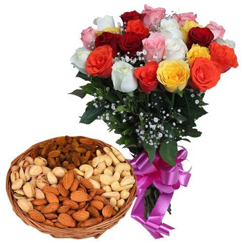 Buy Dry Fruits N Colorful Roses Online
