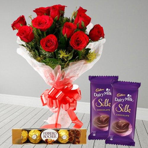 Order Bouquet of Red Rose, Ferrero Rocher and Dairy Milk Silk Online