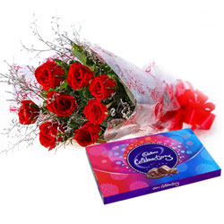 Buy Bouquet of Red Roses and Cadbury Celebration Online