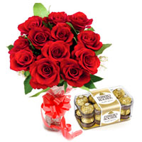Magical Red Rose Bouquet and Ferrero Rocher Chocolates