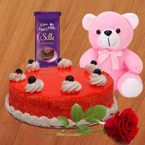 Deliver Red Velvet Cake with Single Rose, Dairy Milk Silk N Teddy Online