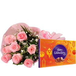 Order Combo Gift of Pink Roses N Cadbury Celebration Online