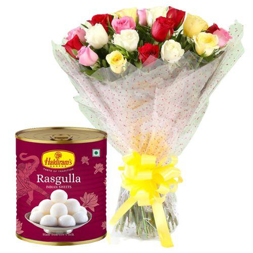 Order Online Mixed Roses with Haldiram Rasgulla