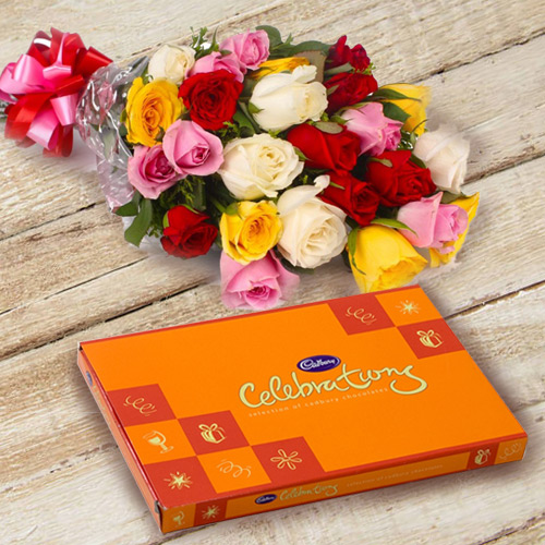 Delivery of Mixed Roses and Cadbury Celebration Online