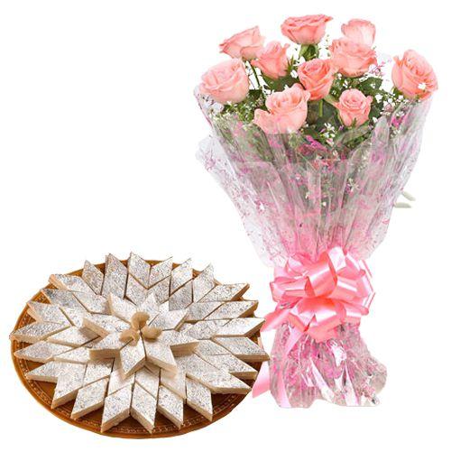Gift Pink Roses with Kaju Katli Online