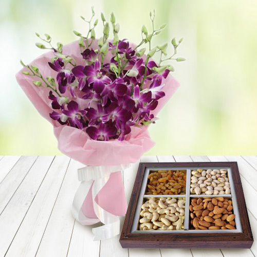 Online Combo of Dry Fruits with Orchids Bouquet