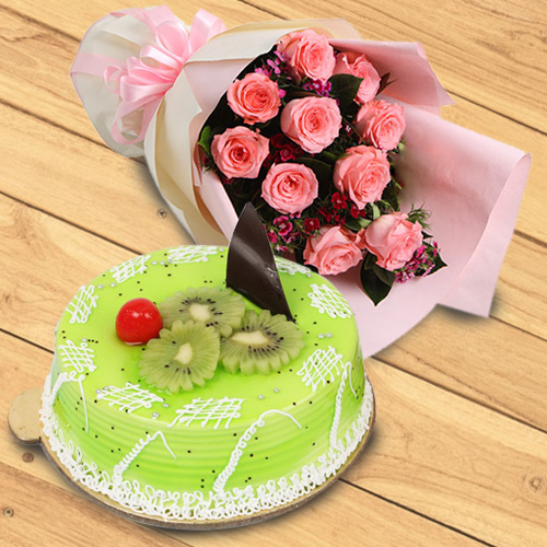 Buy Online Red Roses Bouquet with Kiwi Cake