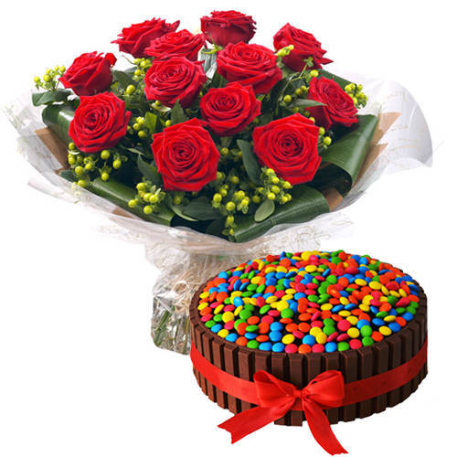 Shop Red Roses N Kitkat Cake Online