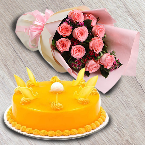 Online Gift Mango Flavour Cake with Red Roses Bouquet