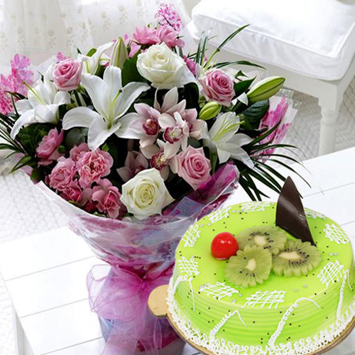 Deliver Online Mixed Flowers with Kiwi Cake