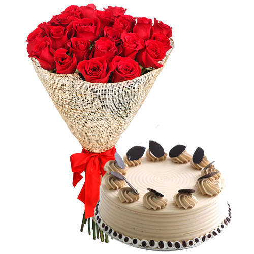 Buy Online Red Roses Arrangement with Coffee Cake Online