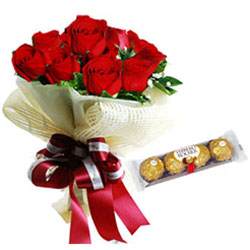 Romantic Red Roses Bouquet with Ferrero Rocher