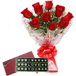 Silky-Smooth Red Roses Bouquet with I Love You Chocolate