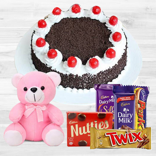 Black Forest Cake with Teddy N Assorted Cadbury Chocolates