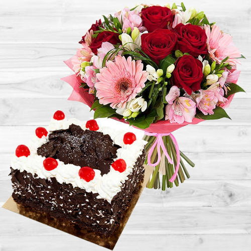 Online Deliver Mixed Flowers Bouquet with Black Forest Cake