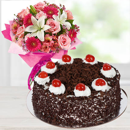 Shop Mixed Flowers Arrangement with Black Forest Cake Online