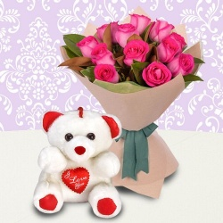 Eye-Catching Small Teddy Bear and Roses for Mom