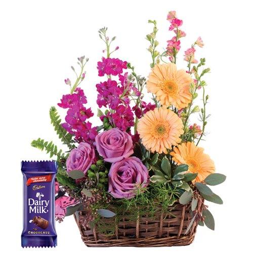 Order Mixed Flower Basket with Dairy Milk Chocolates Online