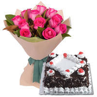 Cheerful 12 Pink Roses Bunch with 1/2 Kg Black Forest Cake