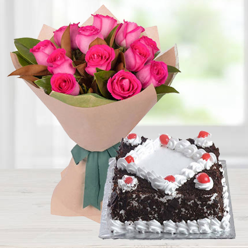 Order Pink Roses Bunch with Black Forest Cake Online