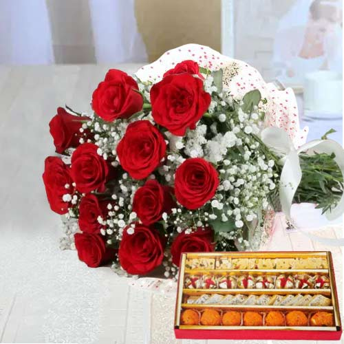 Gift Online Red Roses Bouquet with Assorted Sweets