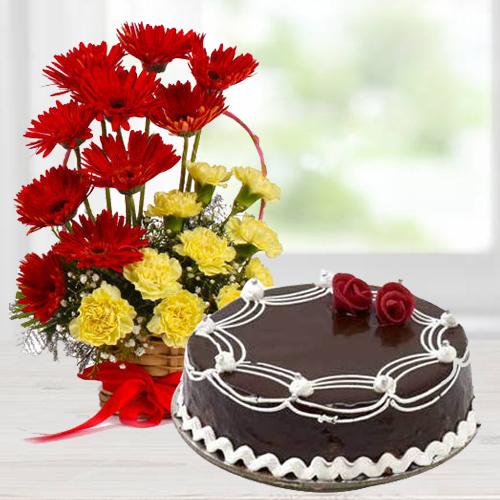 Pristine Carnations and Gerberas Arrangement with Dark Chocolate Cake