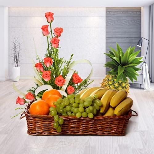 Online Order Pink Roses n Fruits Basket