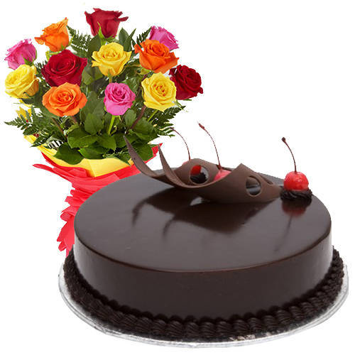 Shop Online Combo of Mixed Roses N Chocolate Cake