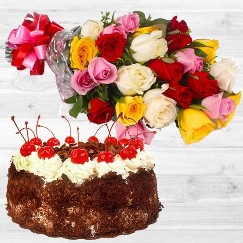 Book Online Mixed Roses Bunch with Black Forest Cake