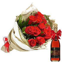 Book Bouquet of Red Roses and Fruit Juice Online